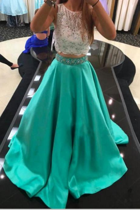 Prom Dress, Two Piece Prom Dress, Lace Top Prom Dress, Floor-length Prom Dress