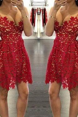Fashion Spaghetti Straps Short Lace Prom Dress,Short Homecoming Dress,Red Prom Dress,Red Homecoming Dress ,Short Prom Dress for Juniors,Short Evening Gowns,Sexy Prom Dress,Graduation Dress,Sexy Cocktail Dress,Short Party Gowns