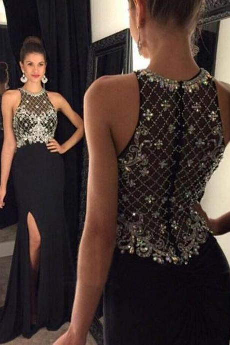 Charming Crystal Beaded Prom Dress,Long Chiffon Prom Dress with Side Slit ,Black Prom Dress,Court Train Prom Dress,Long Evening Dress,Formal Gowns,Prom Dress Plus Size ,Long Homecoming Dress