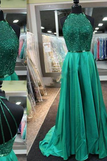 Charming Halter Beaded Prom Dress,Dark Green Prom Dress,Homecoming Dress,Evening Dress,Pageant Dress,Formal Dress