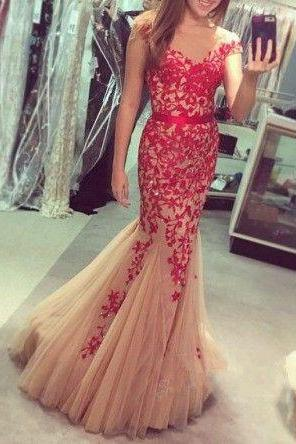 Charming Prom Dress,O-Neck Prom Dress,Appliques Prom Dress,Tulle Prom Dress,Mermaid Evening Dress