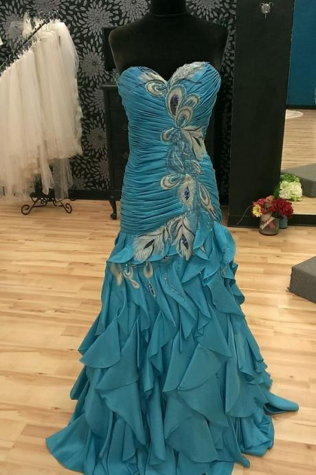 Unique Prom Dress ,Mermaid Prom Dress ,Prom Dress with Feather ,Pleated Bodice Prom Dress ,Evening Dress ,Formal Dress,Prom Dress Plus Size ,Customized Dress