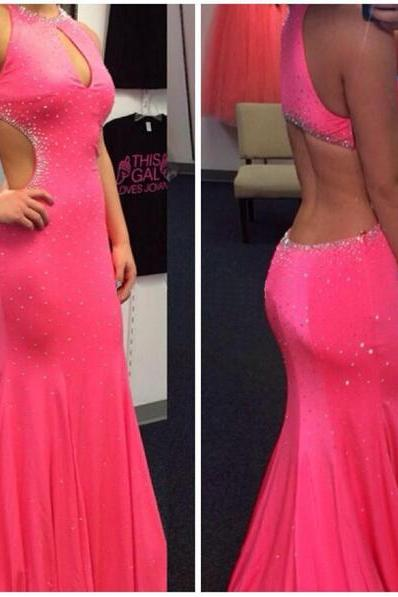Pink Prom Dress, Backless Prom Dress, Sexy Prom Dress, Chiffon Prom Dress, Inexpensive Prom Dress, Pretty Prom Dress