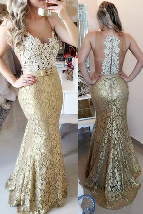 Mermaid Sweep Train Champagne Prom Evening Dress With Bow, Champange Prom Dress, Lace Prom Dress, Lace Evening Dress, Prom Gowns