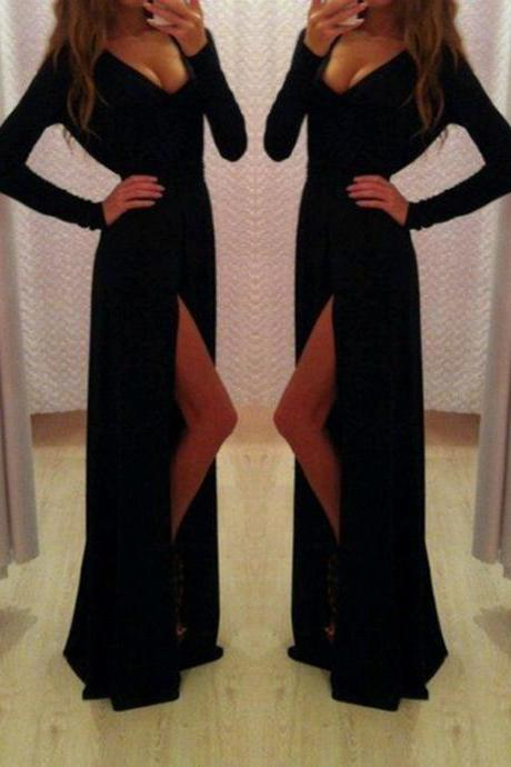 Sexy Prom Dress,V-Neck Prom Dress,Long Sleeve Prom Dress,Sheath Prom Dress