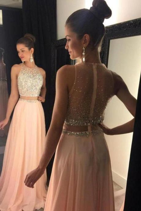 Blush Prom Dresses, 2 pieces Prom Dress, Chiffon Prom Dress, Sexy Prom Dress, dresses for prom, fashion prom dress, unique prom dress