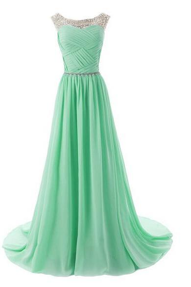 The Chiffon Charming Prom Dresses, Floor-Length Evening Dresses, Prom Dresses, A-Line Real Made Prom Dresses On Sale