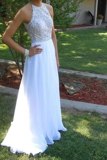 Charming Prom Dress,Chiffon Prom Dress,Beading Prom Dress,A-Line Prom Dress,Floor-Length Prom Dress white party dresses