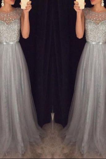 2017 Sparkly Grey Beading Tulle Prom Dresses,Evening Dresses,Evening Gown,Prom Dress