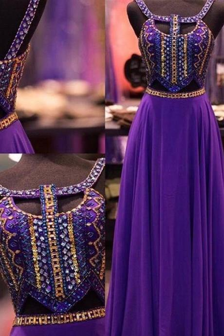 2017 New Design Purple Beaded Prom Dresses,Open Back Prom Dress,Charming Evening Dresses,Evening Gowns,Elegant Party Dresses