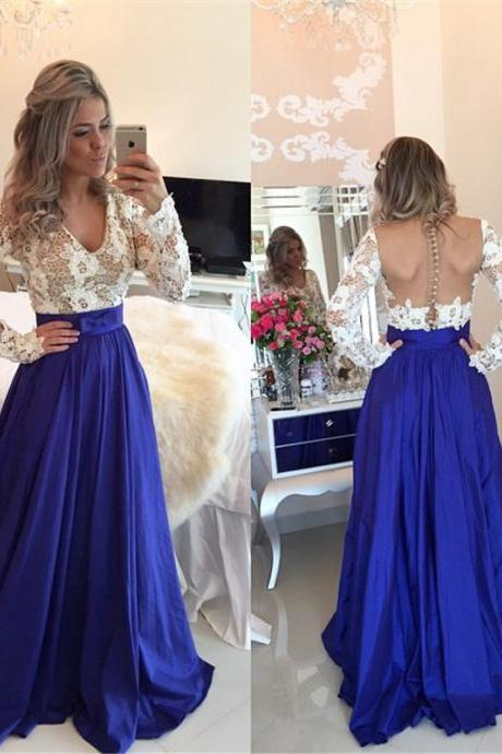 Fashin Prom Dress,Long Sleeve Prom Dress,Lace prom Dress,v-Neck Prom Dress,A-Line Prom Dress