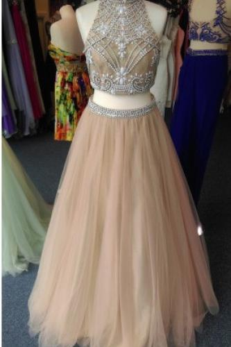 2 Piece Prom Gown,Two Piece Prom Dresses,Evening Gowns,2 Pieces Party Dresses,Tulle Evening Gowns,Sparkle Formal Dress For Teens