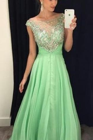 Sage Prom Dresses,Chiffon Prom Dresses,A Line Prom Dress,Long Prom Gown,Prom Dresses,Silver Beaded Evening Dress,Prom Dress,Sparkle Evening Gowns