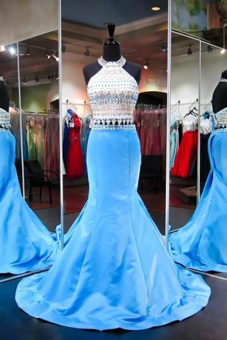 White Prom Dresses, 2 Piece Prom Gowns,2 piece Prom Dresses,Prom Dresses,Prom Gown,2016 Prom Dress With Beading For Teens