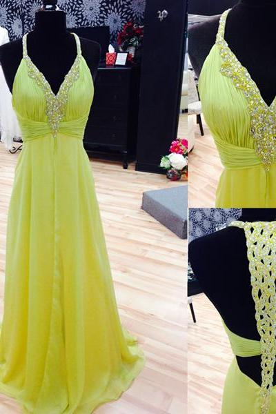 Yellow Prom Dresses,Chiffon Prom Gown,Backless Prom Dresses,Prom Dresses,New Style Prom Gown,2016 Prom Dress,Prom Gowns
