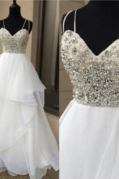 Beaded Embellished Sweetheart Double Spaghetti Straps Floor Length Chiffon Ruffled Wedding Dress