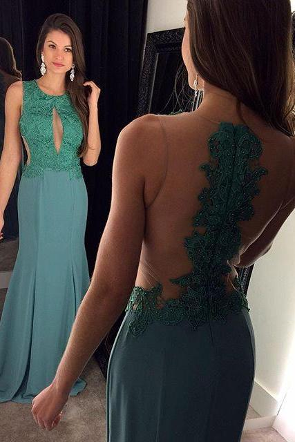 Green Prom Dresses,Backless Prom Dress,Lace Prom Dress,Backless Prom Dresses,2016 Formal Gown,Open Back Evening Gowns,Open Backs Party Dress,Sexy Prom Gown For Teens