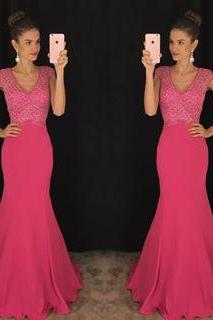 Pink Prom Dresses,Mermaid Prom Gowns,Pink Prom Dresses 2017, Party Dresses 2016,Long Prom Gown,Prom Dress,Sparkle Evening Gown,Sparkly Party Gowbs