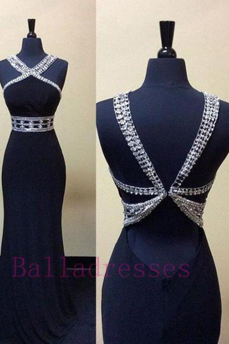 Navy Blue Prom Dresses,Elegant Evening Dresses,Long Formal Gowns,Beaded Party Dresses,Chiffon Pageant Formal Dress