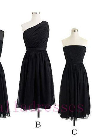 Custom Made Black Chiffon Knee Length A-Line Mismatched Bridesmaid Dress