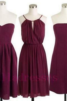 Custom Made Burgundy Short Chiffon Mismatched Bridesmaid Dresses