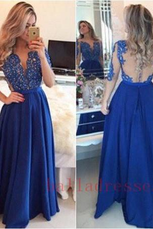 Royal Blue Prom Dresses,Lace Evening Dress,Backless Prom Dress,Prom Dresses With Long Sleeves,Charming Prom Gown,Open Back Prom Dress,Mermaid Fashion Evening Gowns for Teens