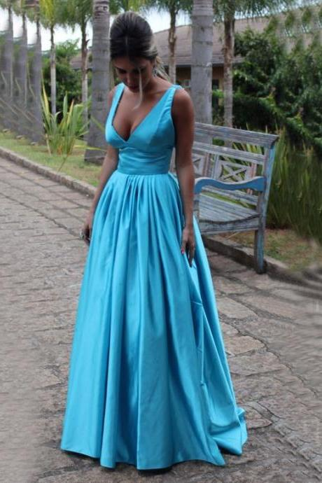 V Neck Long Prom Dress,Sexy Prom Dresses,Evening Dress,Evening Gown