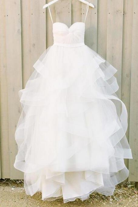 Strapless Sweetheart Twisted Ruched Ruffle A-line Wedding Dress