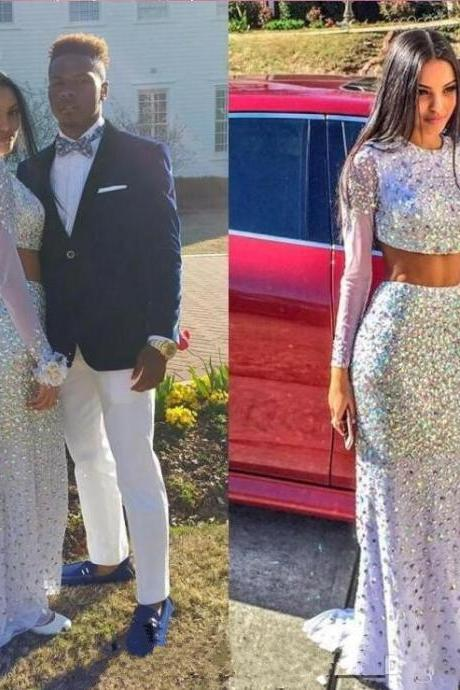 Custom Made Silver Sequin and Crystal Two-Piece Long Sleeve Prom Dress