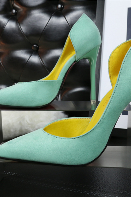 Pointed Toe Half Cut Out Suede Pumps
