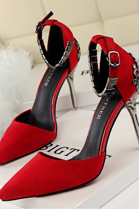 Pointed Toe High Heel Stiletto Pumps with Adjustable Ankle Strap Adorned with Square Metal Beading