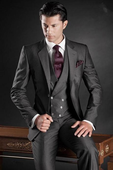 New Slim Fit Men Groom Suit Tuxedos Formal Groomsmen Wedding Suits Custom Made Jackets+Vest+Pants