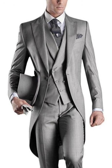 Custom Made Gray Men Suit Groom Tuxedo Formal Wedding Business Suits Tailcoat (Jackets+Vest+Pants) Custom Made groomsman DRESS