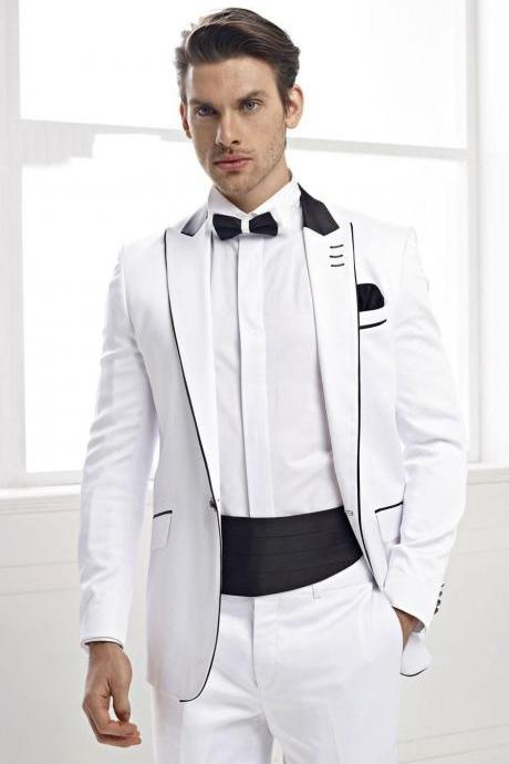 Custom Made Groommen Suit Tuxedos For Men Business Suits Formal Occasion Jacket+Pants+waist sealing Groom Wedding Suits