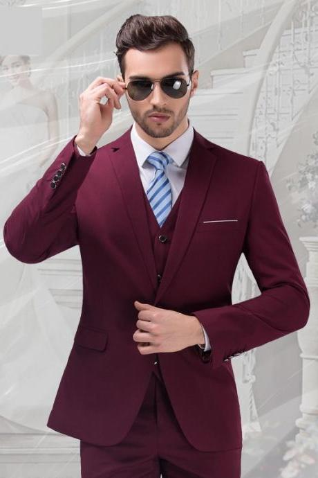 jacket+vest+pant fast shipping 2017 men business suit tuxedo wedding suits groom men 3-piece suit dress suit purple