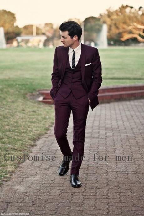 Back Vent Purple Notch Lapel Groom Tuxedos Groomsmen Mens Wedding Tuxedos Clothing Prom Suits Tailor Made Jackets+Vest+Pants