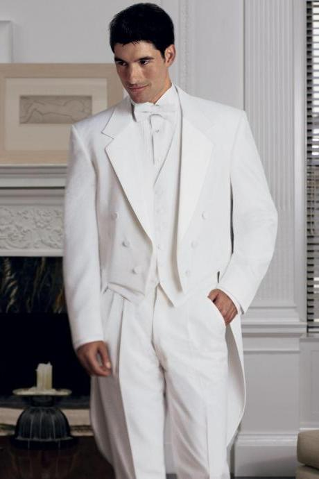 New Arrival Classic White Men Tailcoat Notched Lapel Wedding Suits For Men Men Suits Trim Fit 3 Pieces Formal Grooms Suit