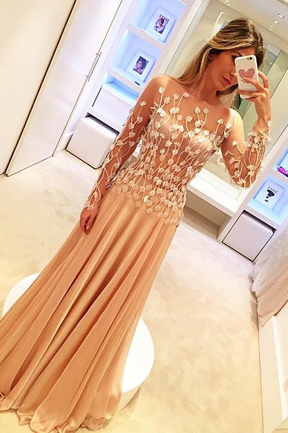 Prom Dresses,Prom Dress,Chiffon Appliques Gorgeous Long-Sleeve Long Prom Dresses