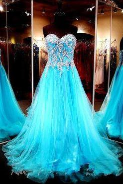 Sexy Prom Dress,Stunning Sweetheart Bodice Beaded Blue Tulle Long Prom Dress,A Line Lace Back Up Prom Gown, Handmade Evening Gowns, Formal Women Dresses