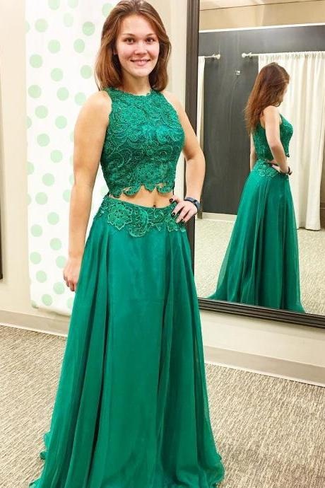 New Arrival Prom Dress,Modest Prom Dress,green prom dress,two piece prom dresses,2 piece prom gowns,prom dresses 2017