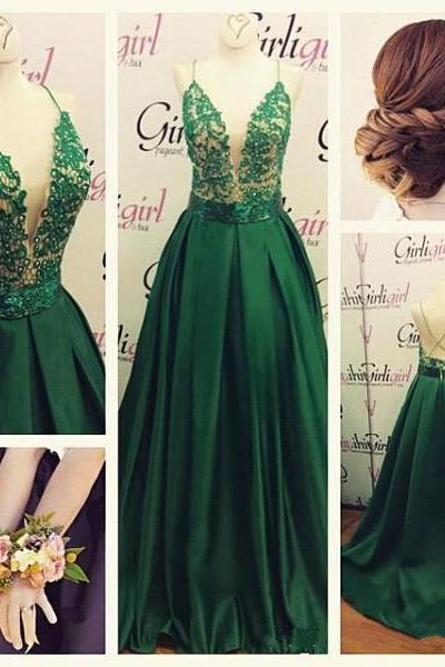 Prom Dresses,Gorgeous Green Spaghetti Straps 2017 Evening Dress Long Lace Appliques