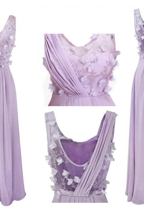 Prom Gown,Lilac Sleeveless A-line Long Chiffon Bridesmaid Dress with Floral Appliques