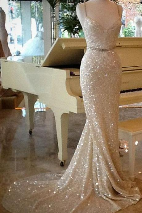Shining Champagne Sequins Long Train Evening Dress, Prom Dresses,Champagne Prom Dresses, Sequins Evening Dresses, Party Dresses, Evening Dresses, Formal Dresses