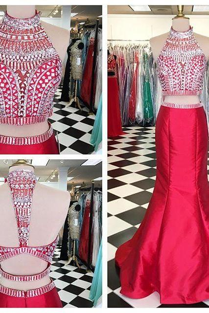 Mermaid Red Prom Dress,Two Piece Prom Dresses