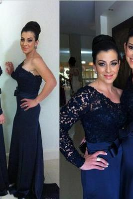 Custom Made Navy Lace One-Shoulder Long Sleeve Floor Length Mermaid Bridesmaid Dress