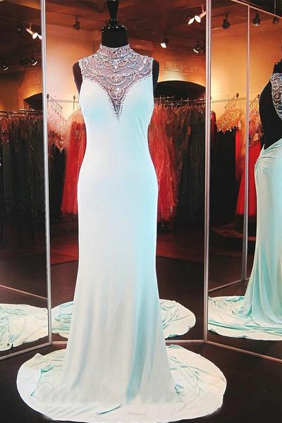 Sleeveless Halter Beaded Chiffon Mermaid Long Prom Dress, Evening Dress Featuring Open Back