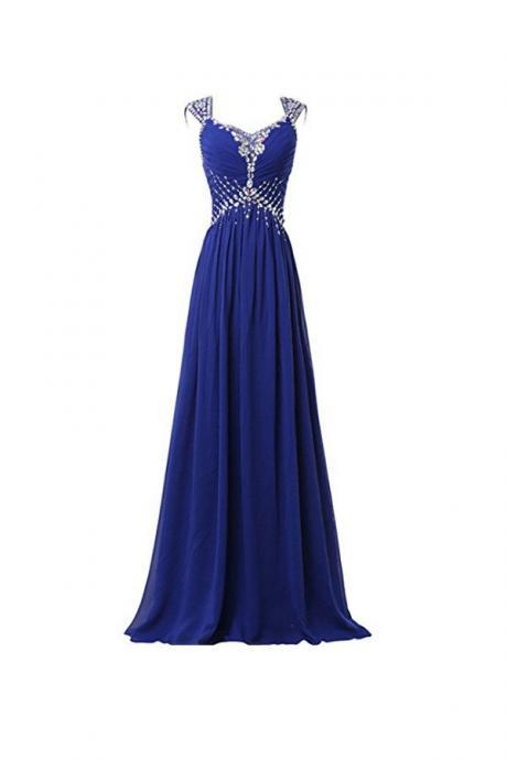Beautiful Chiffon V-neck Long Prom Gowns Party Dresses