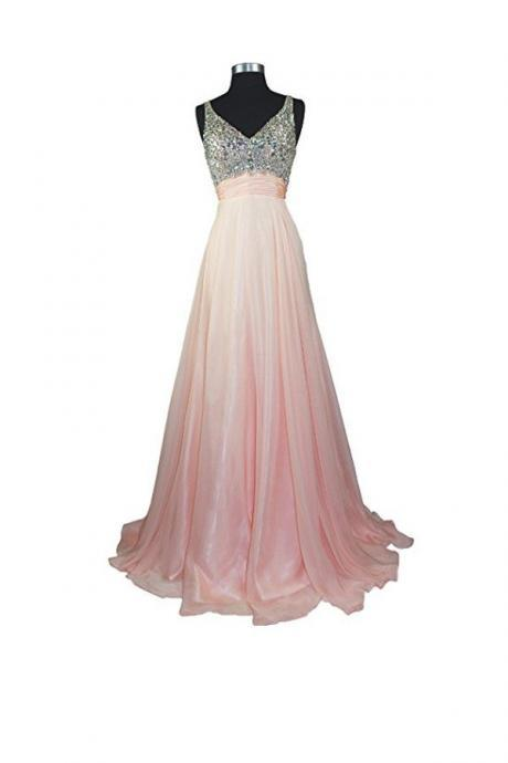 A Line V-neck Formal Chiffon Prom Dresses Evening Dresses Prom Dress