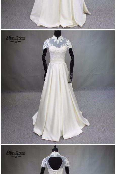 Sheer High Neckline Stain Short Wedding Dress Real Photo Lace Beaded Pearl Vestido de Novia A-Line Bridal Gown