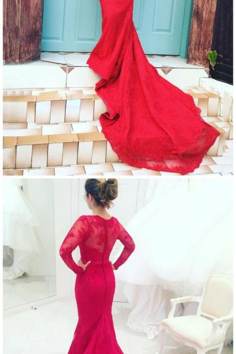 Trumpet/Mermaid Scalloped Neck Lace Court Train Sashes / Ribbons Long Sleeve Red Latest Prom Dresses